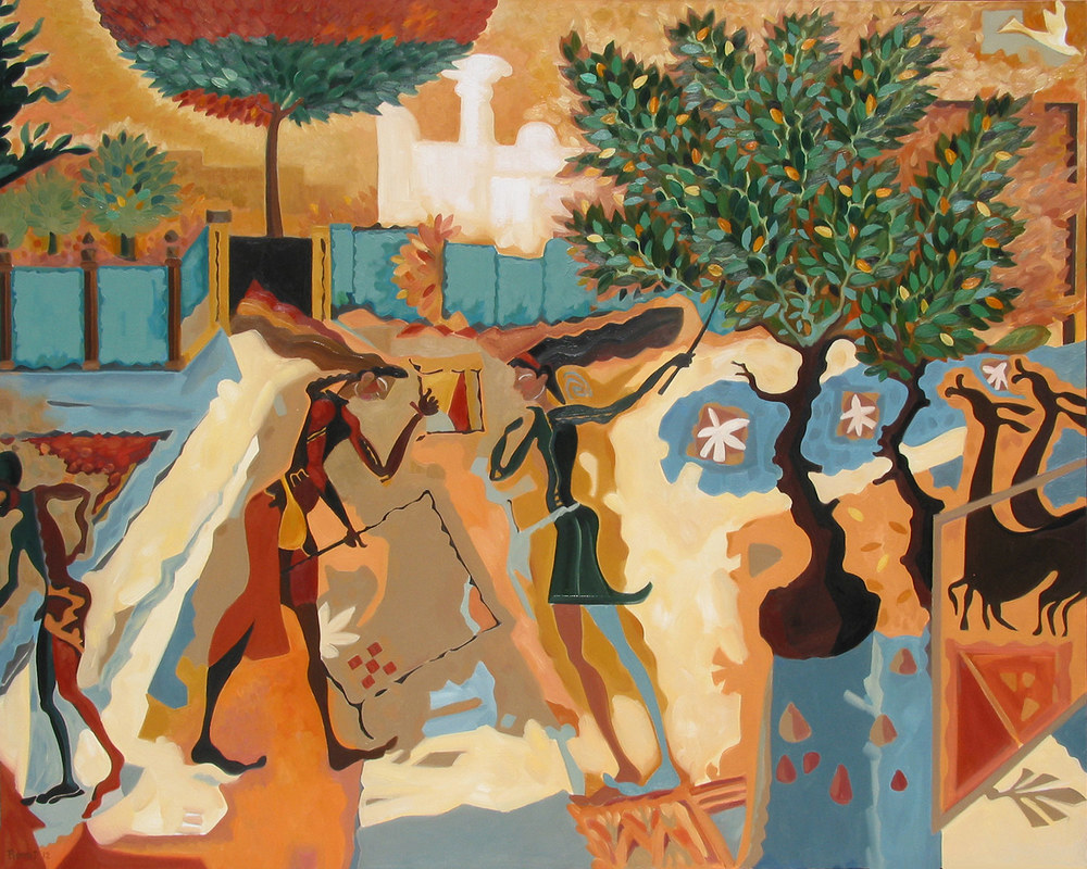 Amphora Dreams II The Kumquat Tree   ©  Oil on canvas  120 cm high x 150 cm wide