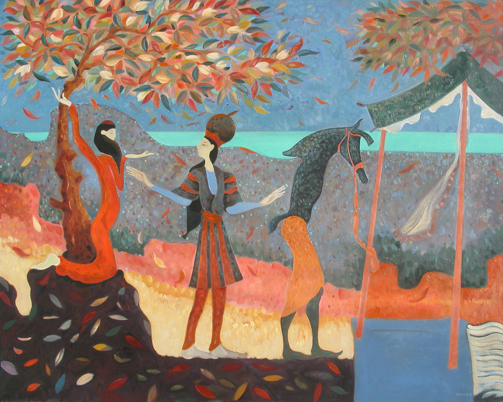 The Travelling Players   ©  Oil on canvas  120 cm high x 150 cm wide