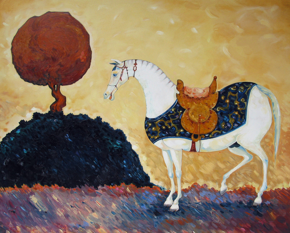 The Walnut Tree   ©  Oil on canvas  80 cm high x 100 cm wide  The horse has stepped, unashamedly, out of a Persian miniature. The tree is painted in the style of Van Gogh, but is also of Persian garden extraction.  It owes much to that finely manicured tradition and somehow works in an impressionistic landscape.