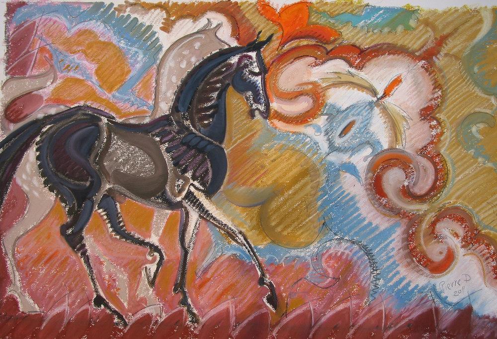 Persian X - The Orange Rosette  ©  Oil on fine paper  62 cm high x 94 cm wide