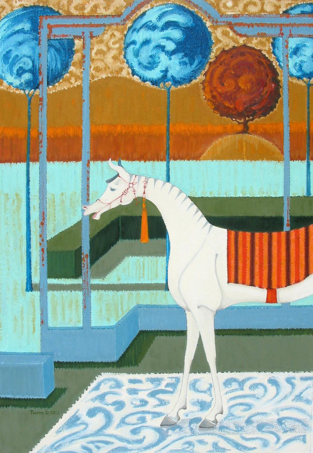 Moghul lV Sultan Stripes   ©  Oil on fine paper  93 cm high x 64 cm wide  As in 'The Three Kings' there is an odd perspective,  with long vertical lines and angled enclosures.  The carpet is placed in an open room so we don't know if we are in or out,  and to disorientate further,  the horse is on the carpet.