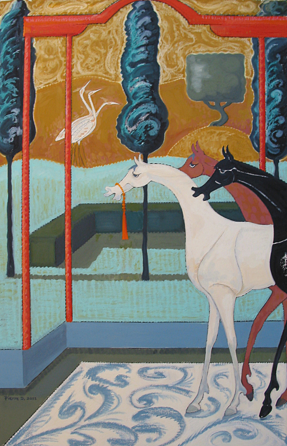 Moghul l the Three Kings   ©  Oil on fine paper  97 cm high x 63 cm wide  The Pavilion is of Moghul design and the elongated horses, Persian.  The carpet seems oddly placed and painted freely to disturb the classic composition.  This open landscape has the curiously still atmosphere of a silent room, which has been hard to recapture in other paintings.