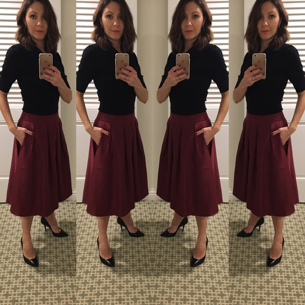 Vintage full skirt & stiletto on Women's March Day 2016. Strong and feminine.
