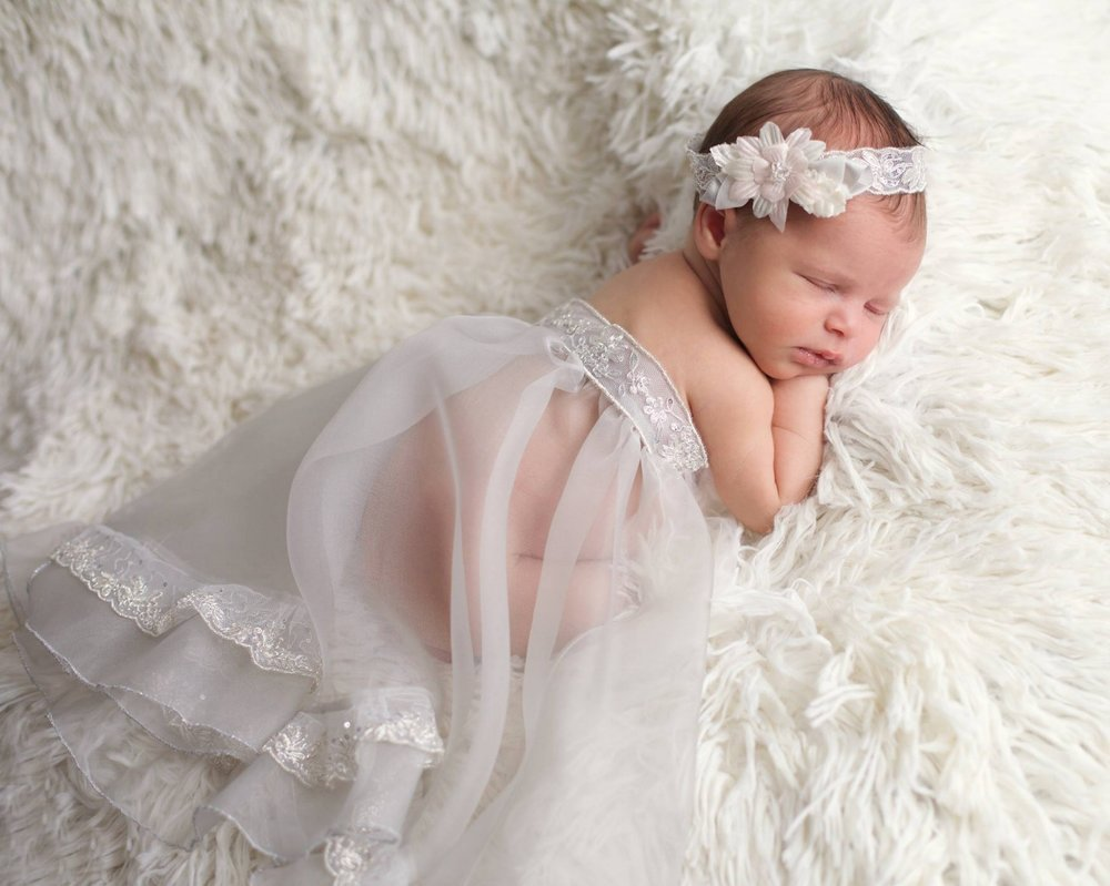 """Silver Bells"" Infant Headband and Portrait Wrap"