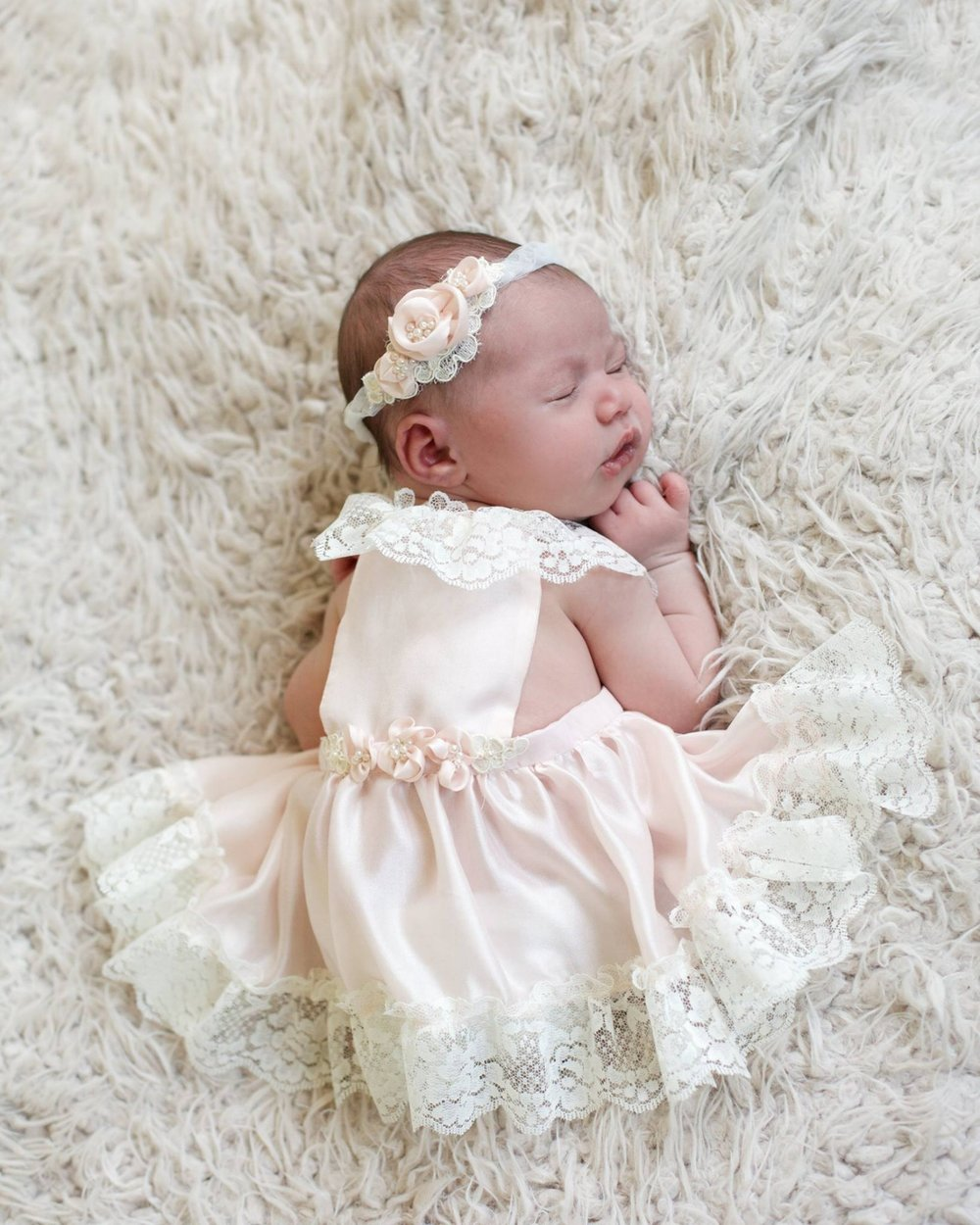 """Eliza"" Baby Headband and Silk Cotton Portrait Dress"