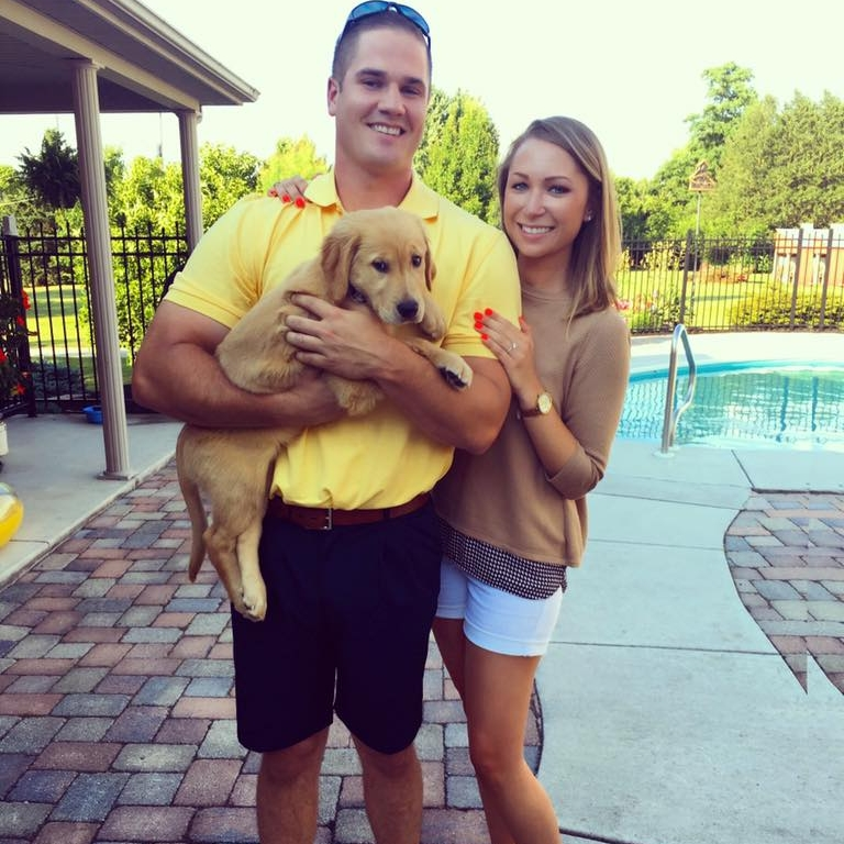 """Brielle said, """"Can't top tonight. Got a fiancé and a puppy."""" They named their beautiful golden Paisley."""