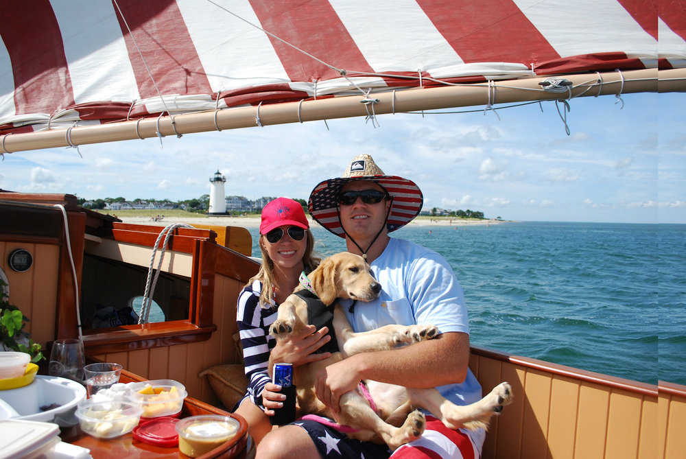Brielle and Alex sure knew how to dress the part while sailing past the Edgartown Lighthouse where they shot engagements pics the day before.