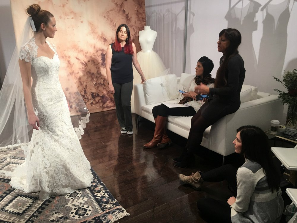 Denise and Katie kept in contact with Brielle in Richmond, Virginia, hoping she would find her wedding day look from Lea-Ann Belter's 2017 stunning collections.