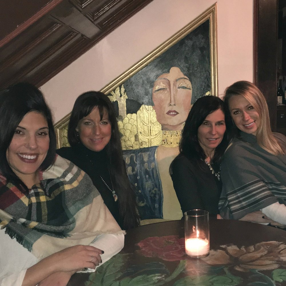 Denise suggested dinner at Mouzon House. Katie, Denise, me, and the bride-to-be enjoyed dinner, wine, talk, and pics in this quaint house filled with artwork.