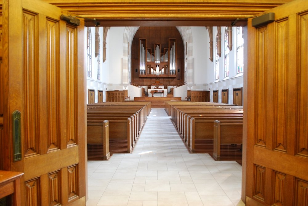 You will find 62 pews inside this beautiful chapel---a dream aisle for a bridal designer...and the bride!