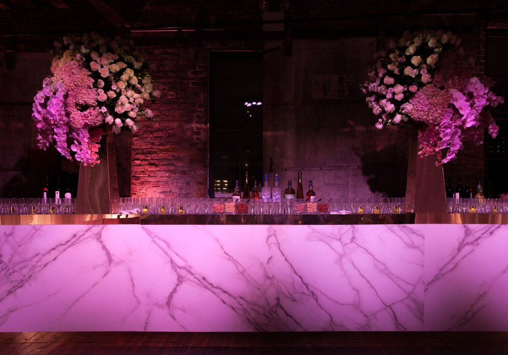 Have you ever been to a wedding with a bar that looked like this? You can credit Bombshell Graphics. Event planning by Birch Events