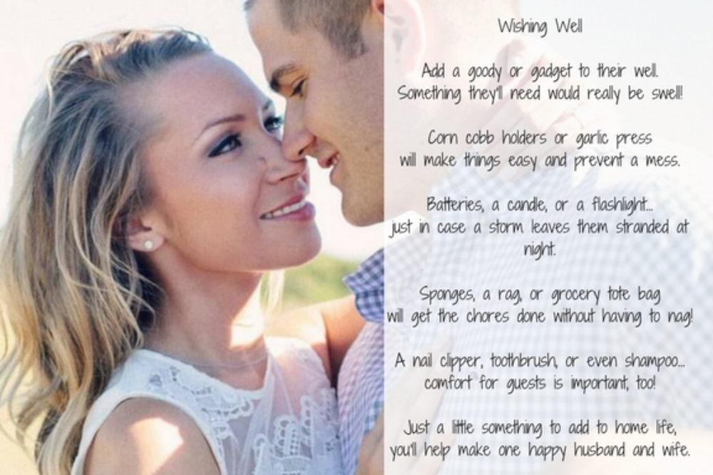 "I loved Aubrey's handwritten ""wishing well"" poem. I am so happy to see this classic tradition finding its way back into the happy celebration for the bride-to-be on her shower day."