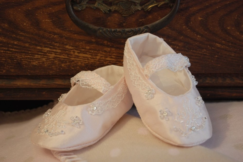 Silk Shantung Christening Shoes