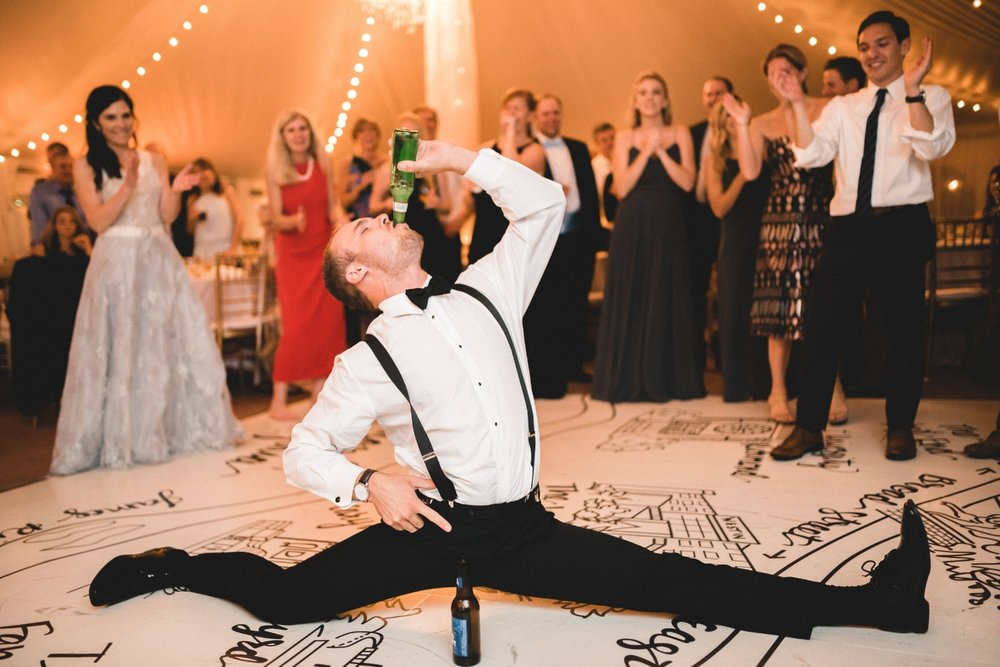 What can we say about this groomsman? Let's face it... he had the best dance moves but the biggest repair bill for his torn tuxedo pants!