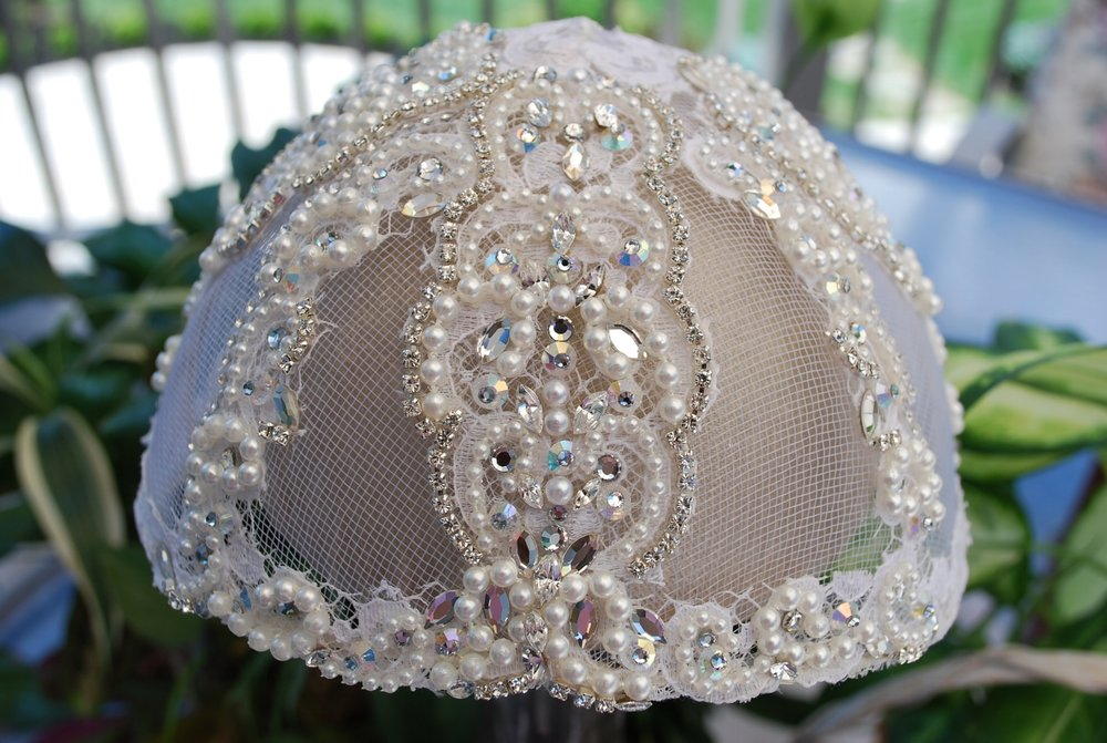 The intricate beading and stone work we added to Patti's juliet cap transformed it into something really special.