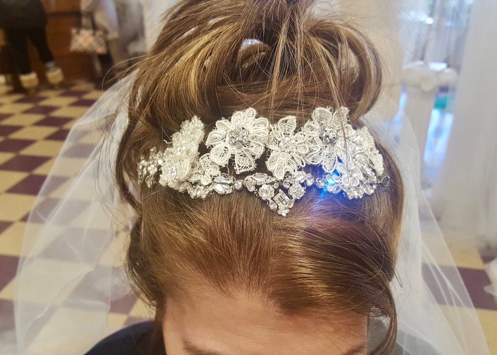 "Our ""Grace"" headpiece can also be styled to be worn in the front of an updo."
