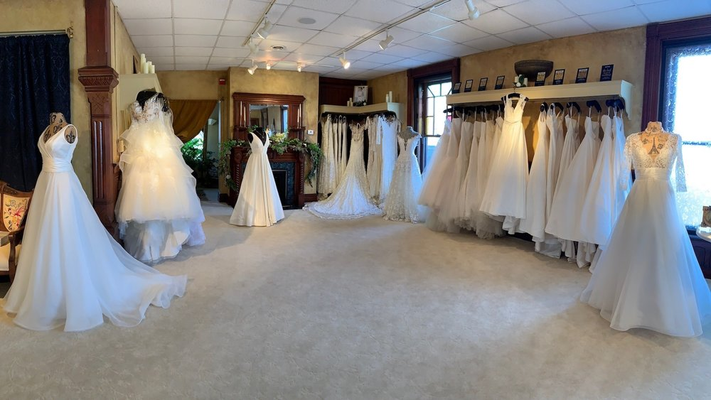 This main ballroom is full of the latest designs from some of the bridal industry's top designers. What makes this salon unique is that they encourage brides to browse and get a feel for the collections. They allow the bride to choose the styles she would like to try on. Trying on wedding gowns is a very personal experience, and Kathryn and Marissa recognize the importance of creating a warm and caring setting. Often brides are ushered in and ushered out of other big name salons, never even having a say in what they want to try on. This amazes me and is the reason I suggest my clients take the trip to Saratoga Springs and make a fun weekend out of it. You will notice immediately the charm and allure of Something Bleu Bridal.