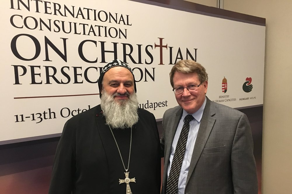 Patriarch Mar Ignatius Aphrem II, Syriac Orthodox Church and Kent Hill, Religious Freedom Institute (Photo: RFI)