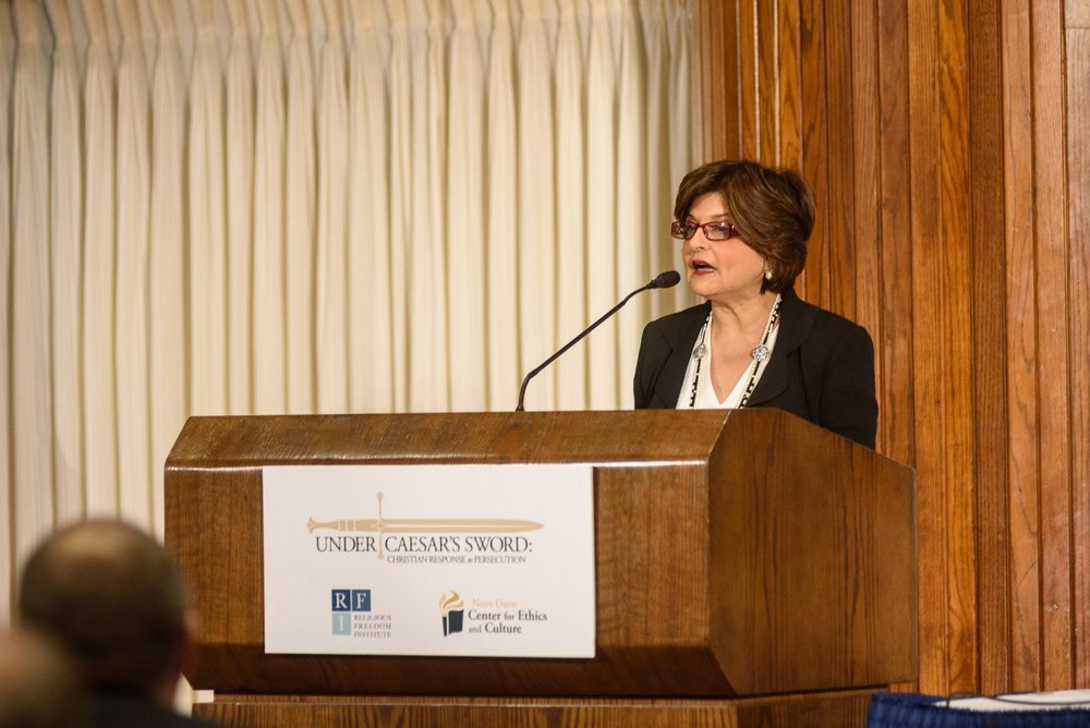 "Farahnaz Ispahani delivers a keynote address on Pakistan's treatment of religious minorities at the Under Caesar's Sword project symposium ""What is to be Done? Responding to the Persecution of Christians,"" April, 20, 2017. Photo: Nathan Mitchell Photography"
