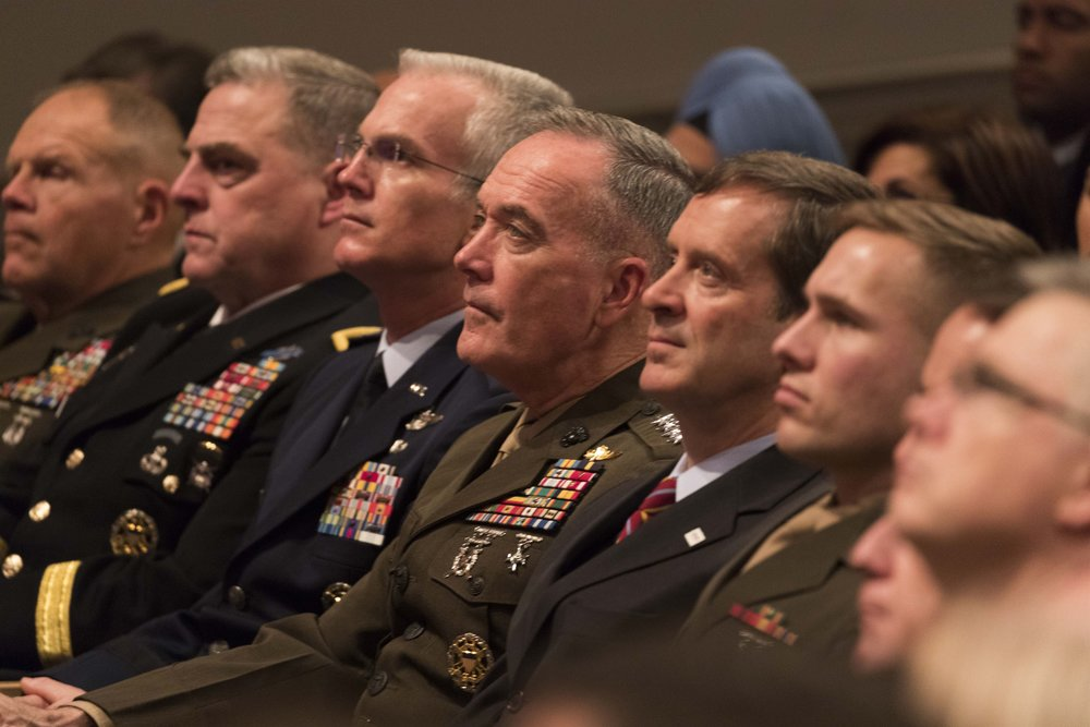 Chairman of the Joint Chiefs of Staff Marine Corps Gen. Joe Dunford, center, and members of the Joint Chiefs of Staff listen as President Donald J. Trump announces a new National Security Strategy, Dec. 18, 2017. Photo: Defense.Gov/Joyce N. Boghosian The appearance of U.S. Department of Defense (DoD) visual information does not imply or constitute DoD endorsement.