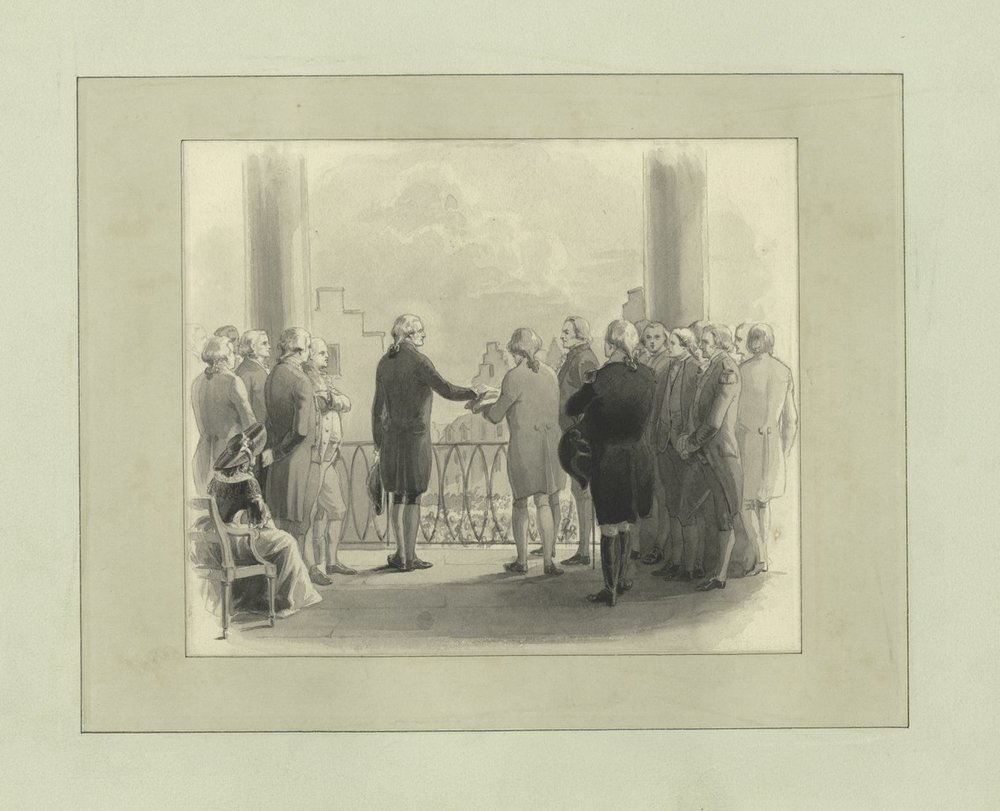 """Washington swearing the oath of office,"" Source: New York Public Library's Digital Collection."
