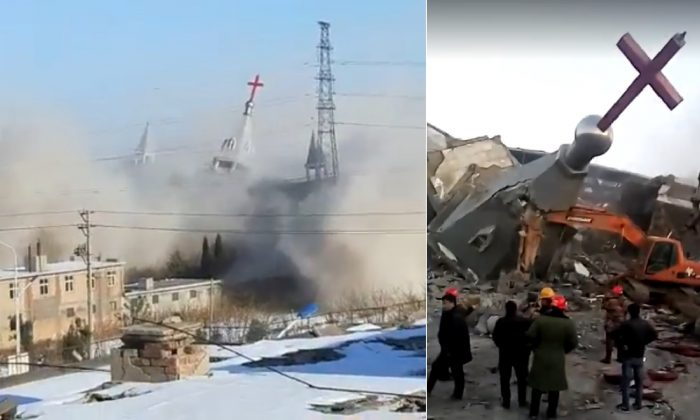 Video uploaded by advocacy group ChinaAid shows destruction of the Golden Lampstand Church in January 2018.