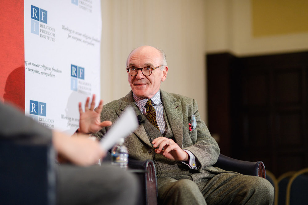 Martin Mosebach, author of  The 21  and award-winning novelist, interviewed by Kent Hill, Executive Director, Religious Freedom Institute. Photo: RFI/Nathan Mitchell