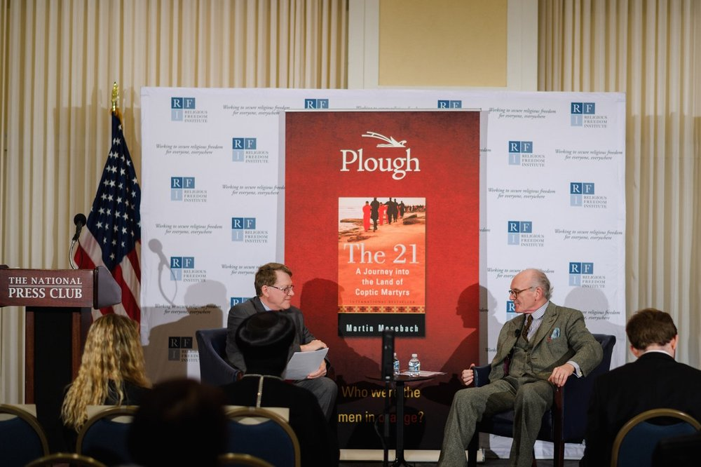 Author Martin Mosebach and Kent Hill, Executive Director, Religious Freedom Institute discuss Mosebach's recent book,  The 21.   Photo: RFI/Nathan Mitchell