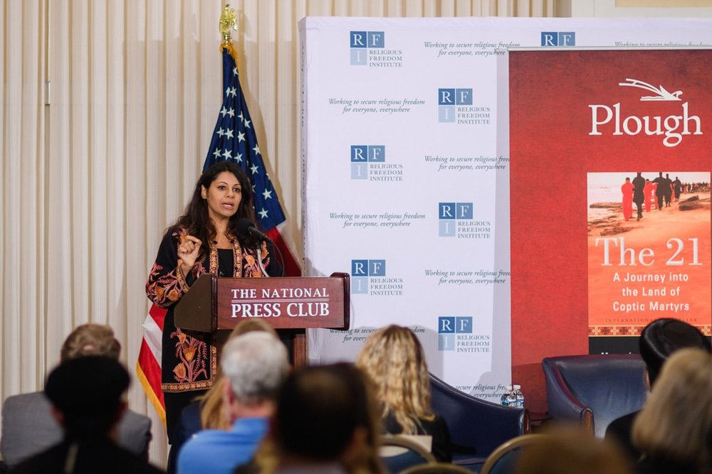 Mariz Tadros, Professor of Politics and Development at the Institute of Development Studies, University of Sussex, delivers remarks on the importance of inclusive development for addressing religious inequalities. Photo: RFI/Nathan Mitchell