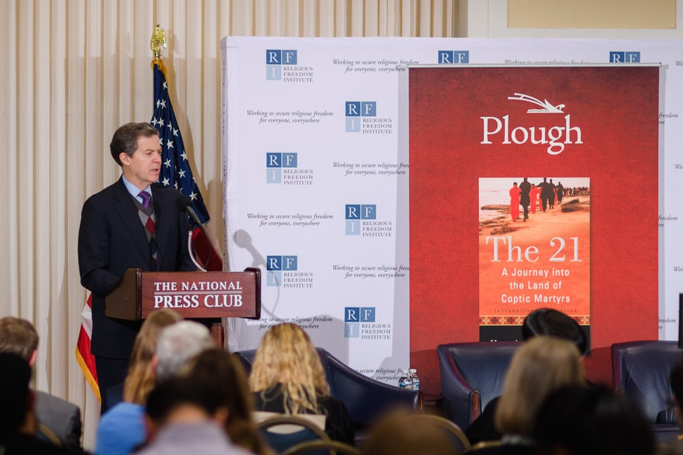 Ambassador Sam Brownback, U.S. Ambassador at Large for International Religious Freedom, provides remarks on the importance of advancing religious freedom for all to advance security and promote human flourishing.  Photo: RFI/Nathan Mitchell