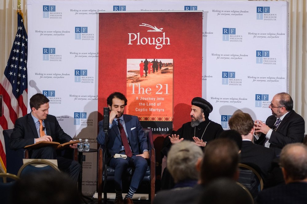 Panel discussion addresses the challenges and opportunities for advancing pluralism and religious freedom across the Middle East and Egypt in particular.   Moderator:   Jeremy Barker, Senior Program Officer, Religious Freedom Institute.   Panel  : Shadi Hamid, Senior Fellow, Brookings Institution; Archbishop Angaelos, Coptic Orthodox Archbishop of London; Samuel Tadros, Senior Fellow, Hudson Institute.  Photo: RFI/Nathan Mitchell