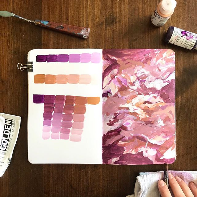 """Color study today with a couple favorites that I use all the time: Permanent Violet Dark, Iridescent Copper Light (Fine), and Titanium White. I love mixing metallics with purples and pinks and reds. It adds  richness to a metallic that may be too yellow for the occasion, or just a touch of sheen and calmness to a brighter color. I do it all the time in my paintings, so I wanted to have a permanent record on hand of these two tones together. . I've been in an interesting mode lately. My mind is shifting, my priorities are shifting. And it's all in a good way. I recently read posts by @meredithcbullock about her stepping back from painting and just focusing on being a full time mother. It resonated so much with me. I feel pulled all the time to be this """"successful person"""", but what is success, really? Before you start to worry, no I am not stepping back from painting. But I have stepped back from social media a bit. I have wasted so, so many hours just doing nothing except scrolling through. I love to see what everyone is creating, but there is a point when it gets in the way of living my own life and taking care of what needs to be taken care of right here and now. . So I've started becoming more present in my own house. I am reading aloud to my kids every day, I am reading books for myself, I am getting outside, I am doing things that need doing. It's so freeing. Once you put down your phone and take a break for awhile, you realize what a slave you had become. I am choosing to not be enslaved. I am choosing to live life, to make memories, to build up my children, and to let them remember me not as a distracted mother but as a present, encouraging, instructing, and loving one. .  This really needs a full blog post to get out all of my thoughts about this topic, but we'll call it good for now.😊"""