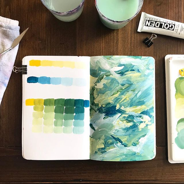 Getting crazy over here with cerulean blue deep and cad yellow medium. I think I would like these two together even more if a darker tone was introduced to the mix...maybe a Payne's gray or sap green or even Prussian blue. Mmm. This might need to happen. . If you saw my stories the other day, you know my sister had her baby and I've been away helping her. Long story short, she labored like a rock star for 46 hours and needed a c section because babe wasn't moving. Also babe had an infection and has been on antibiotics for the last 7 days. (But everything is looking good and he will finally get to go home for the first time tomorrow!) I was able to stay a couple nights at the hospital with her, both of us getting woken up every hour or two either by nurses coming in to check the baby's IV or weight or temperature, or by my sister's alarm so that she could wake up the baby to breastfeed him. I'm so glad I could be there for her as an emotional and physical support during a stressful time. Reminded me of my own babies and all those sleepless nights. Kinda relieved those days are behind us! But man those fresh baby cheeks are the most pure thing on this planet.😭😭