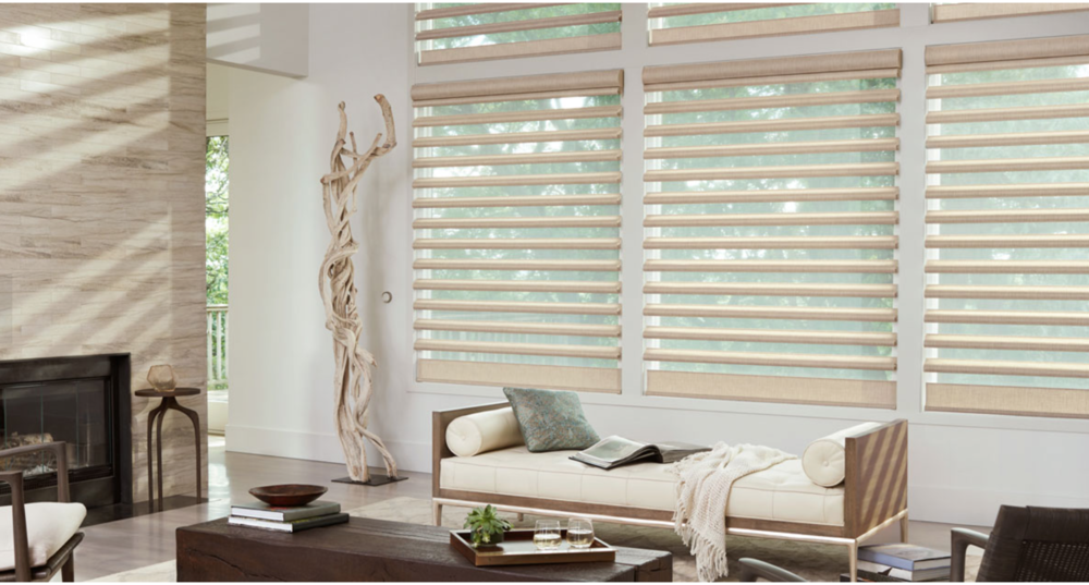 The Alustra® Collection from Hunter Douglas.®Fabric/Material ValenciaColor Plaza
