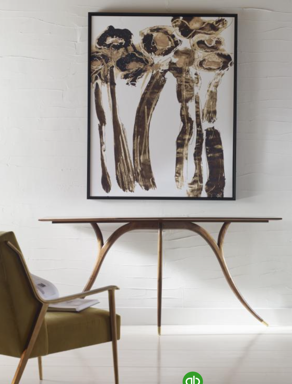 A table with serpentine leg in a sophisticated finish paired it with a wonderful piece of art and a midcentury chair, can bring luxury to any portion in your home.