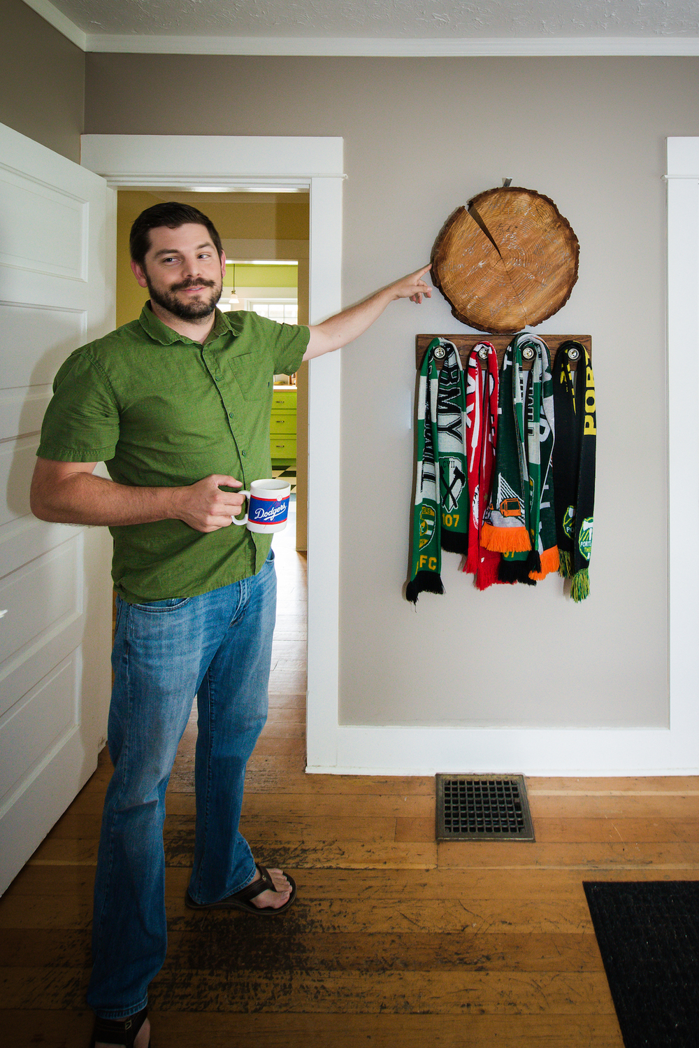 Sean is a proud member of the Timbers Army, with a wood-cookie signed by the team
