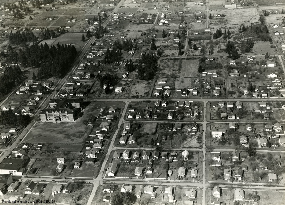Lents Aerial looking north from Foster, 1948
