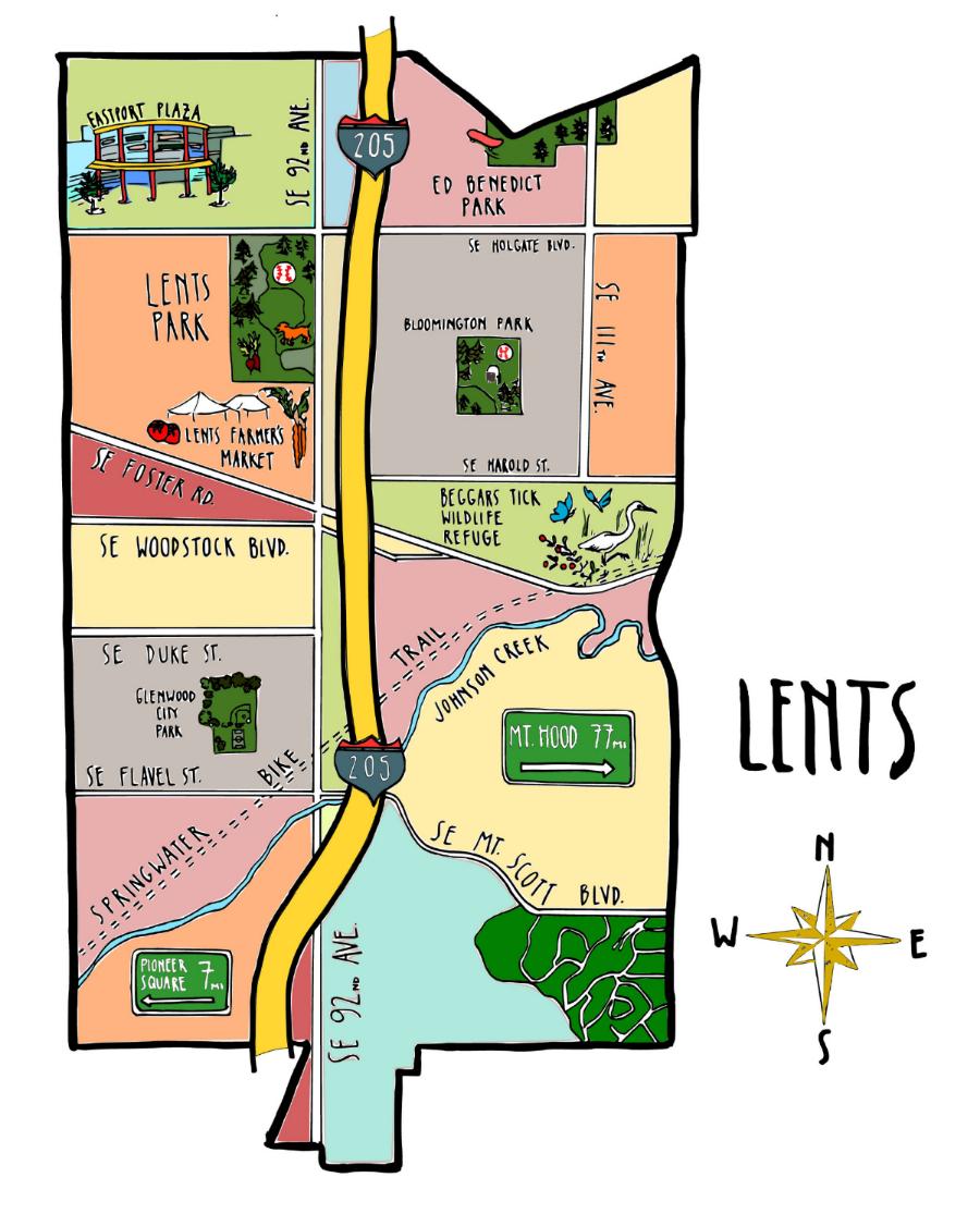 Lents map by Johanna PalMieri, 2016
