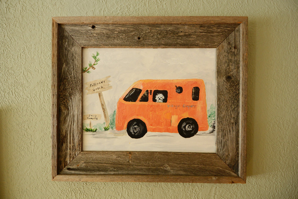 Painting by Meg's mom, Leigh Weil, of Meg and Deb's mobile crepery truck, Rosie.