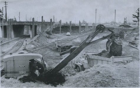 1954 Construction of Banfield Expressway, courtesy of Oregon Historical Society