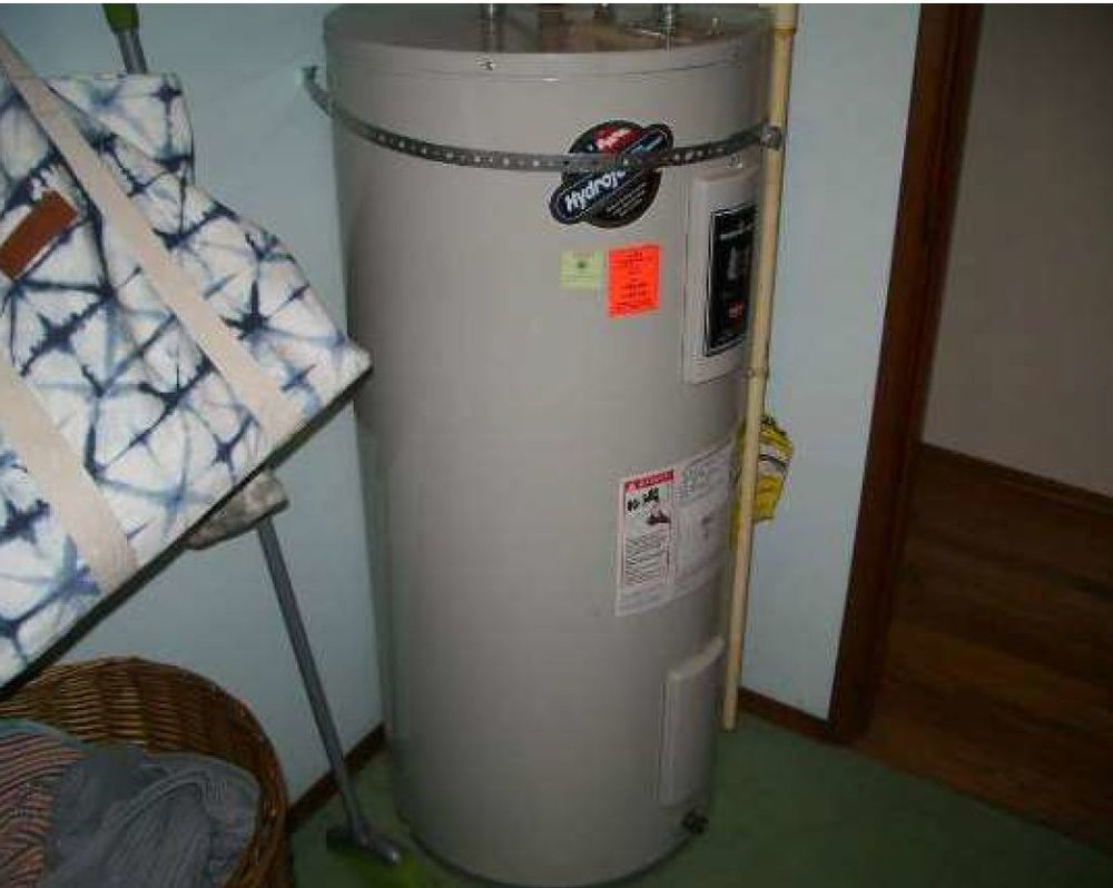 Repair: Hot water heater missing a strap.