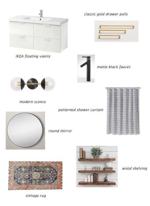 IKEA Cabinet, Drawer Pulls, Faucet, Modern Sconce, Shower Curtain, Round Mirror, Vintage Rug