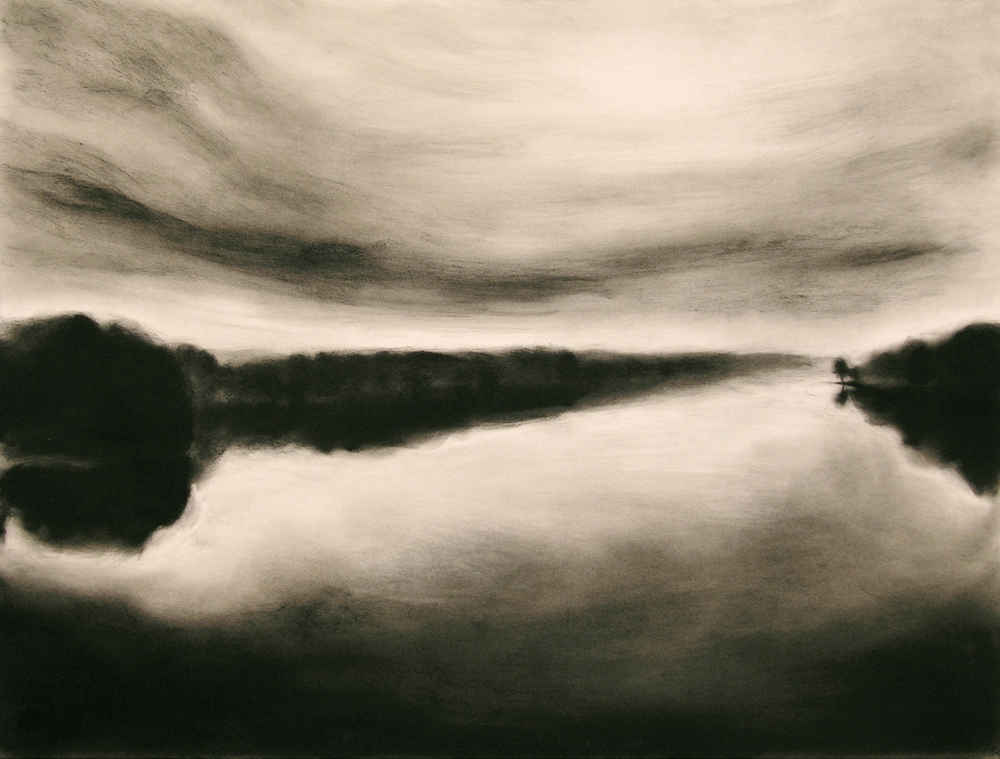 THE SHADOW THE RIVER KEEPS II, charcoal, 2004, private collection, © 2016 Michael Kirk, all rights reserved