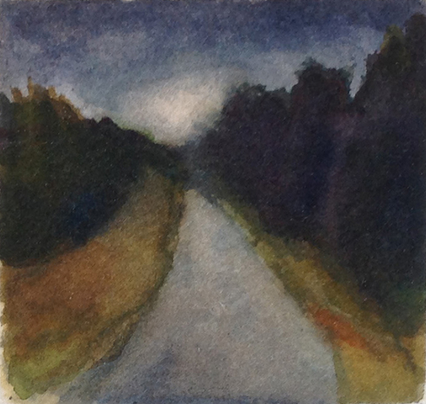 TOWARD NIGHTFALL, watercolor, 1999, 2.5 x 2.5 inches; © 2016, Michael Kirk, all rights reserved