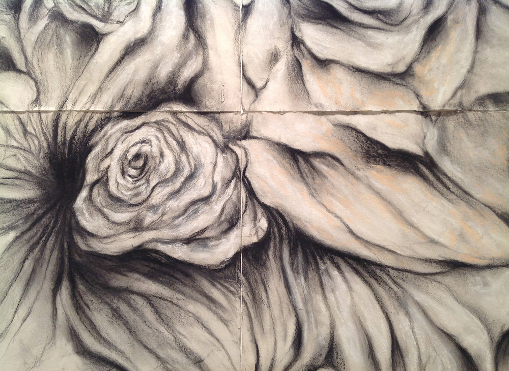 SOFTLY OUT OF DARKNESS, detail graphite, charcoal, pastel polyptych © 2016, Michael Kirk all rights reserved
