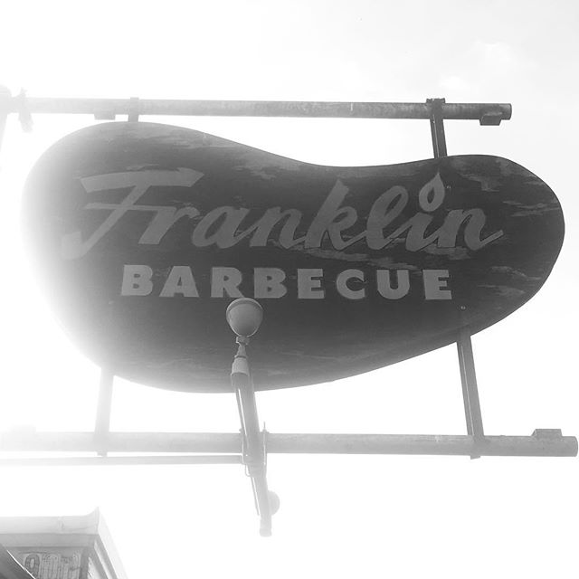 1st stop today on BBQ Glory tour (6:00 am and were 8th in line. Now 9:00 and there are easily a couple hundred in line) our team was keepin it warm ... The King of BBQ! Franklins #BBQGLORY
