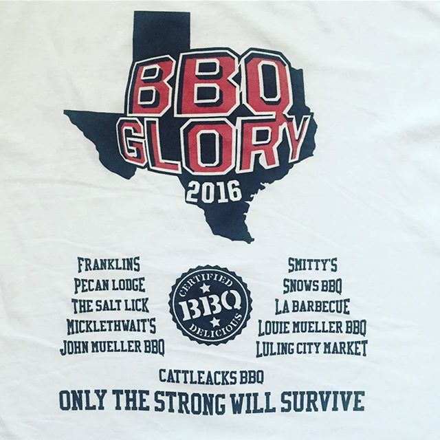 Here's the back of our T-shirts for BBQ Glory gives an idea of all the restaurants we went to, in addition to these 11 we actually added Kruez Market. The BBQ Kings have united once again, and now off into the sunset till next year.... #bbqglory