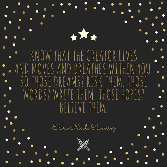 """Know that the Creator lives and moves and breathes within you. So those dreams? Risk them. Those words? Write them. Those hopes? Believe them."" - Elora Nicole Ramirez #FromMyDEN #journal #biblejournaling #illustratedfaith #writing #writersofinstagram"