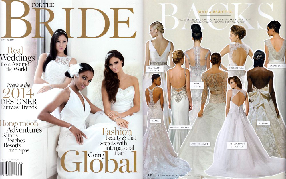 Delaney is highlighted as a gown with a gorgeous back in the Spring 2014 issue of For The Bride Magazine