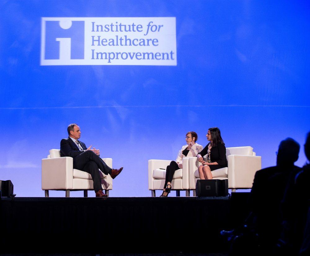 IHI CEO Derek Feeley with Patient Advocate Tiffany Christensen and Dr. Awdish